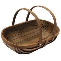 Joseph Bentley Garden Trug: Made of slender, strong wooden slats finished in a dark hue, this basket offers two rounded handles for easier weight distribution. It is 21 inches long, a bit more than a foot wide, and 6 inches high without the handles. That's a nice wide and deep space to fill, and you will be surprised just how much the trug holds. $24.95. Retailer: Park Seed Gardenista