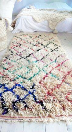 Vintage Moroccan Rug - Natural virgin wool - AZILAL RUG Diamonds