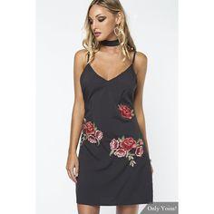 Yoins Black Sleeveless Random Rose Embroidery Sexy V-neck Halter Mini... ( 34cab3174