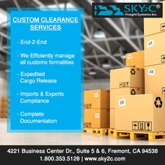 Need help with custom clearance? Sky2C offers quality, cost-effective and end-2-end customs clearance services to businesses and individuals worldwide. Whether it's managing customs formalities at departure/arrival or just customs processing and filing, Sky2C will handle it swiftly for you.