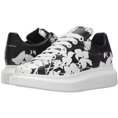 Alexander McQueen Sneaker Pelle S.Gomma Women's Lace up casual Shoes ($695) ❤ liked on Polyvore featuring shoes, sneakers, black, black sneakers, alexander mcqueen sneakers, slip-on shoes, black trainers and floral print sneakers