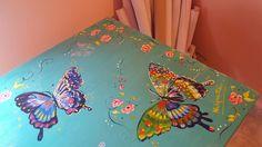 🎨🌸 Tablón/mesa inspirado en el arte d Starla Michelle 🌸🎨 #arte #óleo #acrílico #barniz #colores #mariposas #alas #pintura #pinceladas @albaartistica