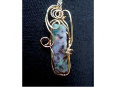 Australian Boulder opal 14k gold filled wire wrapped pendant