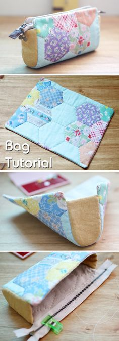 Great Pictures Sewing for beginners pencil case Thoughts Kosmetische Kosmetiktasche - Makeup Storage Bag, Bag Storage, Fabric Storage, Storage Ideas, Makeup Organization, Makeup Drawer, Storage Organization, Patchwork Bags, Quilted Bag
