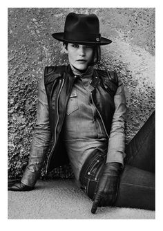 Love this. Denim on denim and leather. Gemma Arterton for G-Star Raw.
