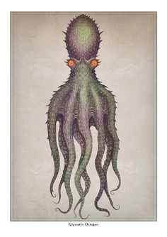 """""""An unknown species of gigantic octopus has been hypothesized as a source of reports of sea monsters such as the lusca and the kraken. In the French malacologist Pierre Denys de Montfo. Nature Prints, Art Prints, Octopus Drawing, Octopus Tattoos, Octopus Print, Collages, Design Graphique, Sea Monsters, Book Design"""