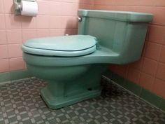Vintage Mid Century Ming Green Toilet (American Standard) #AmericanStandard