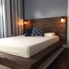 Floating Wood Platform Bed frame with Lighted Headboard-Quilmes - Bed Headboard - Ideas of Bed Headboard - Sale! off Floating Wood Platform Bed frame with Lighted Headboard-Quilmes Floating Platform Bed, Floating Bed Frame, Wood Platform Bed, Floating Headboard, Platform Bed Plans, Platform Bed With Drawers, Headboard With Lights, Wooden Bed Headboard, Raised Platform Bed