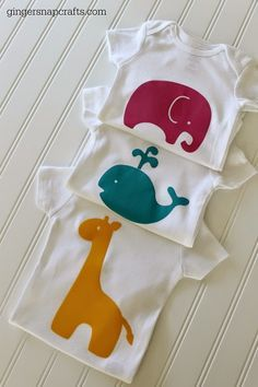 Love these Baby Onesies made using your Silhouette and heat transfer :: tutorial from Ginger Snap Crafts