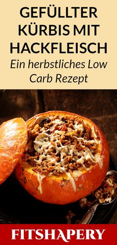 This stuffed pumpkin with minced meat is low carb, low in calories and super tasty . - This stuffed pumpkin with minced meat is low carb, low in calories and super delicious. Brunch Recipes, Meat Recipes, Low Carb Recipes, Healthy Recipes, Keto Snacks, Healthy Snacks, Valeur Nutritive, Carne Picada, Tasty