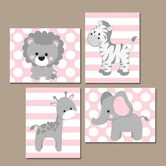 Baby Girl Nursery Wall Art, Pink Gray Nursery Decor, Elephant Giraffe Zebra Lion, Girl Safari Animals Decor Canvas or Print Set of 4 Baby Girl Nursery Wandkunst Pink Grey Nursery Artwork von TRMdesign