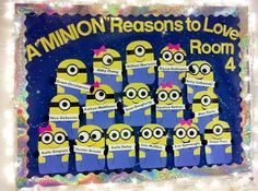 There are a minion reasons to do  this bulletin board for Valentine's Day!