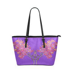 orchid lavender Leather Tote Bag/Large (Model 1651)
