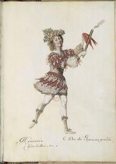 Caproli/ Benserade, Ballet des noces de Pélée et Thétis, 1654: Hymenée (Costume design H. Gissey)