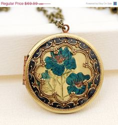 ON SALE LocketBrass LocketAntique Botanical by emmagemshop on Etsy, $62.99