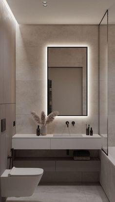 El minimalismo es tendencia en la decoración de baños | Para Ti Washroom Design, Bathroom Design Luxury, Modern Bathroom Design, Modern House Design, Modern Interior Design, Toilet And Bathroom Design, Apartment Bathroom Design, Small Toilet Design, Modern Luxury Bathroom