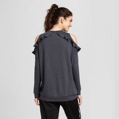 Women's Ruffle Cold Shoulder Top - Mossimo Supply Co. Charcoal Gray S
