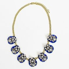Viva la Jewels — Viva la Jewels: Crystal Jewels Encrusted in Navy Blue Stones, Statement Necklace, Collar Necklace -