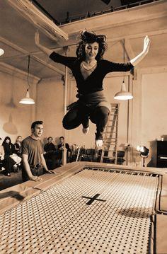Kate Bush trampolining