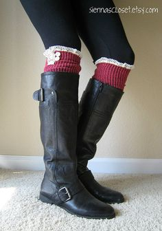 The Milly LaceBERRY cableknit BOOT SOCKS w/ by GraceandLaceCo, $34.00