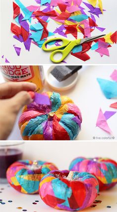 How to decoupaged pumpkins with colorful tissue paper. These are perfect Halloween or Thanksgiving decorations. Click the image to get the full tutorial | LiveColorful.com
