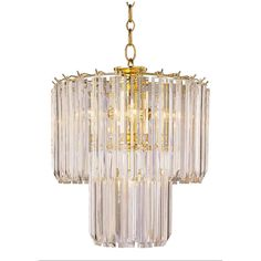 Features:  -Acrylic prism glass.  -Steel construction.  -36 glass prisms total.  Chandelier Type: -Crystal chandelier.  Finish: -Polished Brass.  Material: -Metal.  Number of Lights: -5.  Bulb Wattage