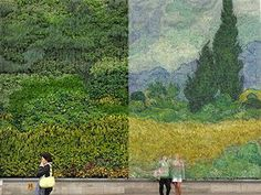 Painting by the plants  One of Van Gogh's famous paintings has been transformed into huge vertical garden on display at London's National Gallery.
