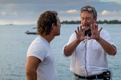 Director Steven Knight going through a scene with Matthew McConaughey on the set of Serenity shot last year in Mauritius, release date end of September Steven Knight, Film Movie, Movies, Matthew Mcconaughey, Mauritius, Serenity, Caribbean, Images, Scene