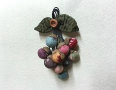 Miniature Patchwork Acorns, Safety pin charm brooch.