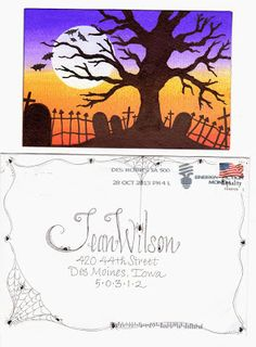 pushing the envelopes: from becca - halloween Fancy Envelopes, Mail Art Envelopes, Decorated Envelopes, Addressing Envelopes, Envelope Lettering, Envelope Art, Envelope Design, Pen Pal Letters, Letter Art