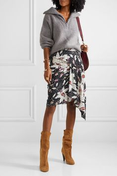 Heel measures approximately inches Brown suede (Calf) Pull on Designer color: Cognac Made in Italy World Of Fashion, Fashion Online, Ideal Fit, Printed Skirts, Suede Boots, Brown Suede, Isabel Marant, Luxury Fashion, Skinny Jeans
