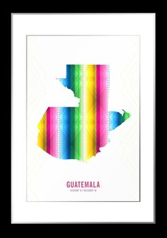 The Guatemala Map Print combines the country's coordinates with a silhouette of Guatemala. The map is filled with a pattern inspired by Guatemalan textiles. This modern map print is the perfect wall d