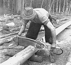 One of the first one man chainsaws
