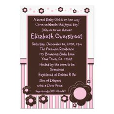 Girls Baby Pink & Modern Brown Daisy Flower Shower Custom Invitations
