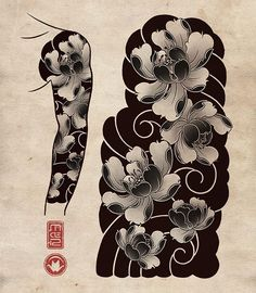 Japan is home to some of the most incredible and detailed Japanese tattoo art. However, it's difficult to find many resources online that offer an in-depth look at this art form. Japanese Flower Tattoo, Japanese Dragon Tattoos, Japanese Tattoo Designs, Japanese Sleeve Tattoos, Full Sleeve Tattoos, Japanese Flowers, Tattoo Sleeve Designs, Japanese Art, La Santa Muerte Tattoo