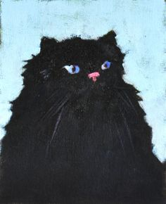 Custom Black Persian Cat Portrait Paintings by Cat Painting Tuesday