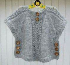 TC Hatice Karel [ knit sweater tunic poncho with side buttons kids sweater, Idea for poncho like top, j aimerais avoir les explications sv p merci, havenBirinci [ Wish I could find the pattern for this adorable little top. Baby Knitting Patterns, Knitting For Kids, Baby Patterns, Hand Knitting, Poncho For Kids, Poncho Patterns, Crochet Patterns, Crochet Edgings, Cardigan Pattern