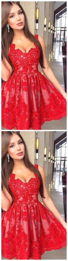 Spaghetti Straps Lace A-Line Homecoming Dresses Tulle Applique