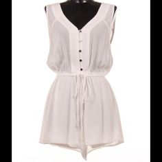Button Up Solid Romper #425-WM Button Up white solid romper. Pants Jumpsuits & Rompers
