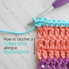 Maybe it's a blanket border. Maybe it's around a dishcloth or sweater. Or maybe along the edge of a scarf or cowl. But anytime you are instructed in a pattern to # how to crochet a border on a blanket How To Crochet a Clean Edge Along a Rough Edge Crochet Hook Case, Crochet Hook Sizes, Crochet Hooks, Crotchet Blanket, Crochet Blanket Border, Double Crochet, Easy Crochet, Crochet 101, Crochet Humor