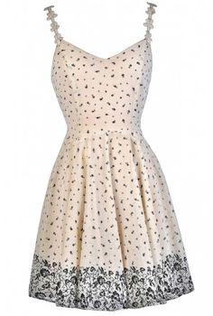 47f0c158d1 Beige and Black Floral Print Dress