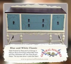 General Finishes Halcyon Blue and Antique White Milk Paint, Van Dyke Brown Glaze with Java Gel Stain on the top. Reclaimed Barn Wood, Old Wood, Java Gel Stains, Vintage Furniture For Sale, Antique Buffet, Glaze Paint, Painted Furniture, Furniture Refinishing, Milk Paint