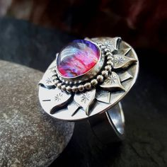 https://instagram.com/p/BBxZLj8HmSQ/ Silver dragons breath lotus ring  #silver #ring #stone #dragonsbreath #jewelry #jewellery #unique #handmade #etsyundiscovered #handsawn #madeinscotland #lotusflower #lotus #oxidized #gemstone