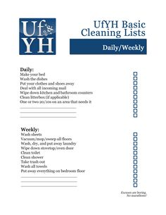 UfYH basic cleaning checklists! A number of... | Unfuck Your Habitat