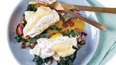 Named after Swiss tennis player Roger Federer, this play on eggs Benedict features poached eggs on toast topped with Swiss chard and Swiss cheese. Egg Recipes For Breakfast, Breakfast Bites, Best Breakfast, Brunch Recipes, Summer Recipes, Easy Recipes, Poached Eggs On Toast, Chard Recipes, Egg Dish