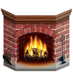 When it's time to install a fireplace for the holidays, the Brick Fireplace Stand-Up sets up fast! Use it as a decorating prop, a giant centerpiece or a place to take photos. The fireplace stand-up fe