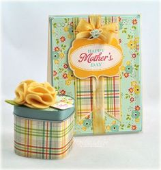 Happy Mother's Day by Debbie.  Nice touch with the coordinating tin.  Like the colors and the different patterns too.