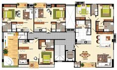 Plant set Apartments - Planta ambientada apartamentos