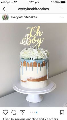 48 Ideas Baby Boy Shower Cakes And Cupcakes Blue Baby Shower Snacks, Baby Shower Drinks, Baby Shower Cakes For Boys, Baby Shower Desserts, Baby Shower Brunch, Baby Shower Fall, Baby Shower Cookies, Baby Boy Shower, Baby Shower Drip Cake