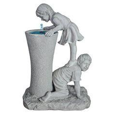 Design Toscano Get a Leg Up Girl and Boy Sculptural Outdoor Fountain - KY29848
